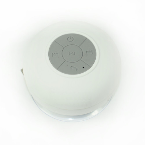 Suction Shower Speaker White Bluetooth Waterproof Ipx4 Music Mic for cellphone