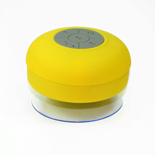 Suction Shower Speaker Yellow Bluetooth Waterproof Ipx4 Music Mic for cellphone