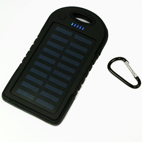 Waterproof Solar Power Bank Battery Charger 5000 mah for Cell Phone Black