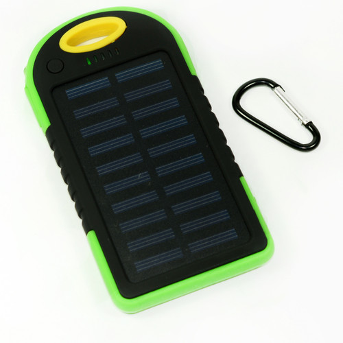 Waterproof Solar Power Bank Battery Charger 5000 mah for Cell Phone Yellow and Green