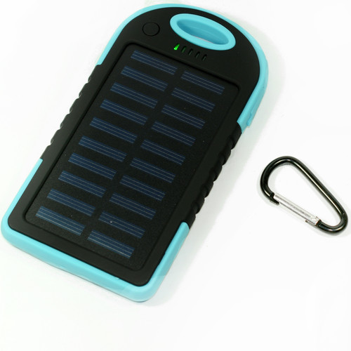 Waterproof Solar Power Bank Battery Charger 5000 mah for Cell Phone Blue