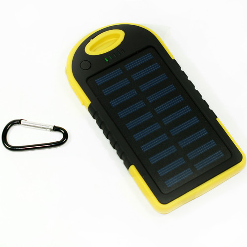 Waterproof Solar Power Bank Battery Charger 5000 mah for Cell Phone Yellow