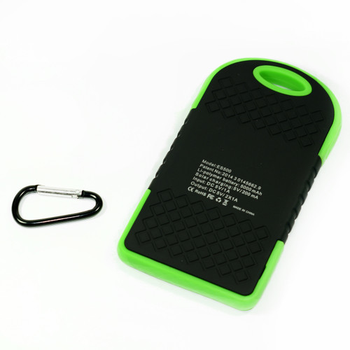 Waterproof Solar Power Bank Battery Charger 5000 mah for Cell Phone Green
