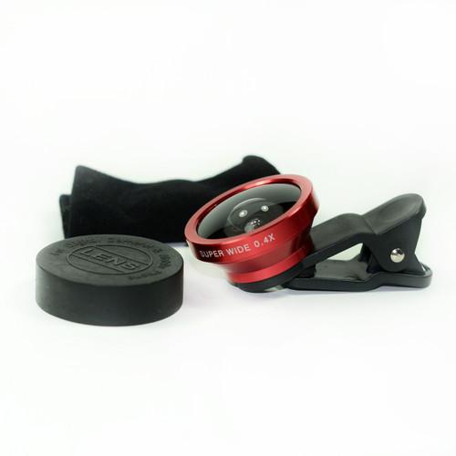Red 0.4x Fisheye Eye Lens Detachable Clip Camera For Cell Phone