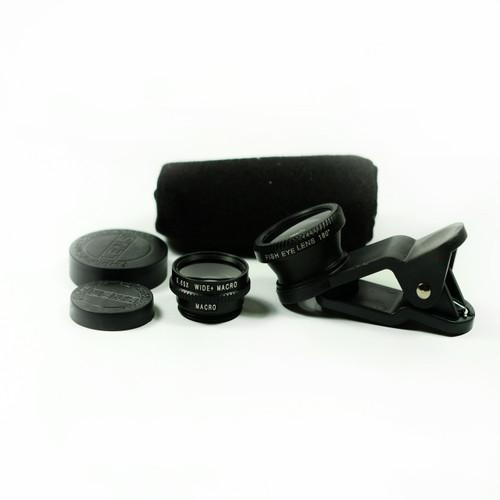 3 in 1 Black 0.65x Wide, 180, Macro Fisheye Eye Lens Camera For Cell Phone