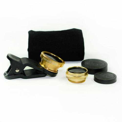 3 in 1 Gold 0.65x Wide, 180, Macro Fisheye Eye Lens Camera For Cell Phone