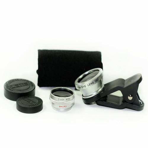 3 in 1 Silver 0.65x Wide, 180, Macro Fisheye Eye Lens Camera For Cell Phone