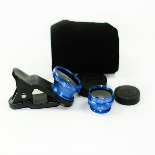 3 in 1 Blue 0.65x Wide, 180, Macro Fisheye Eye Lens Camera For Cell Phone