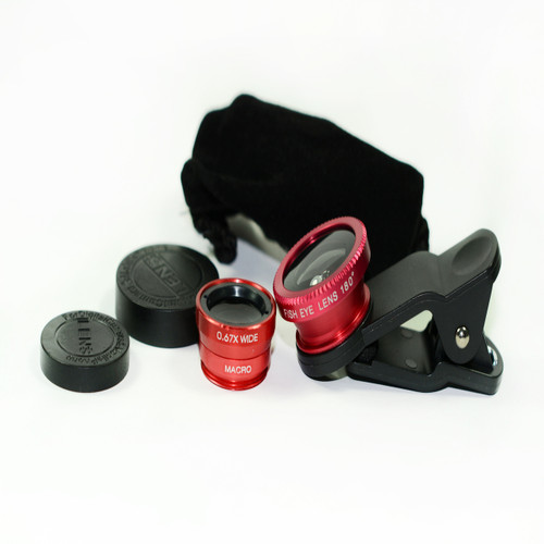 3 in 1 Red 0.67x Wide, 180, Macro Fisheye Eye Lens Camera For Cell Phone