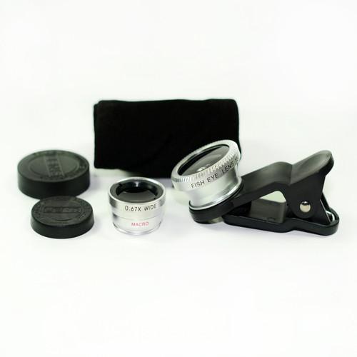 3 in 1 Silver 0.67x Wide, 180, Macro Fisheye Eye Lens Camera For Cell Phone