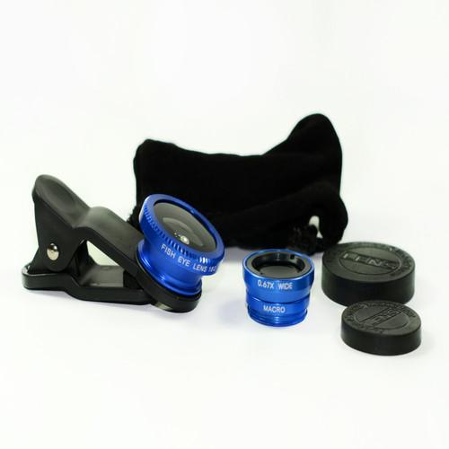 3 in 1 Blue 0.67x Wide, 180, Macro Fisheye Eye Lens Camera For Cell Phone
