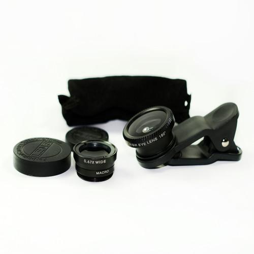 3 in 1 Black 0.67x Wide, 180, Macro Fisheye Eye Lens Camera For Cell Phone