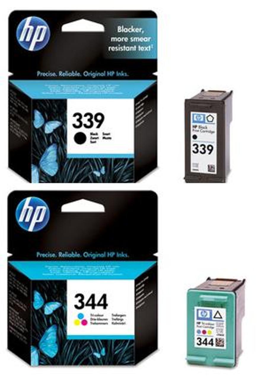 High Capacity Hp 339 Black & Hp 344 Tri-colour Original Ink Cartridge Multipack (Hp C8767ee & C9363ee)