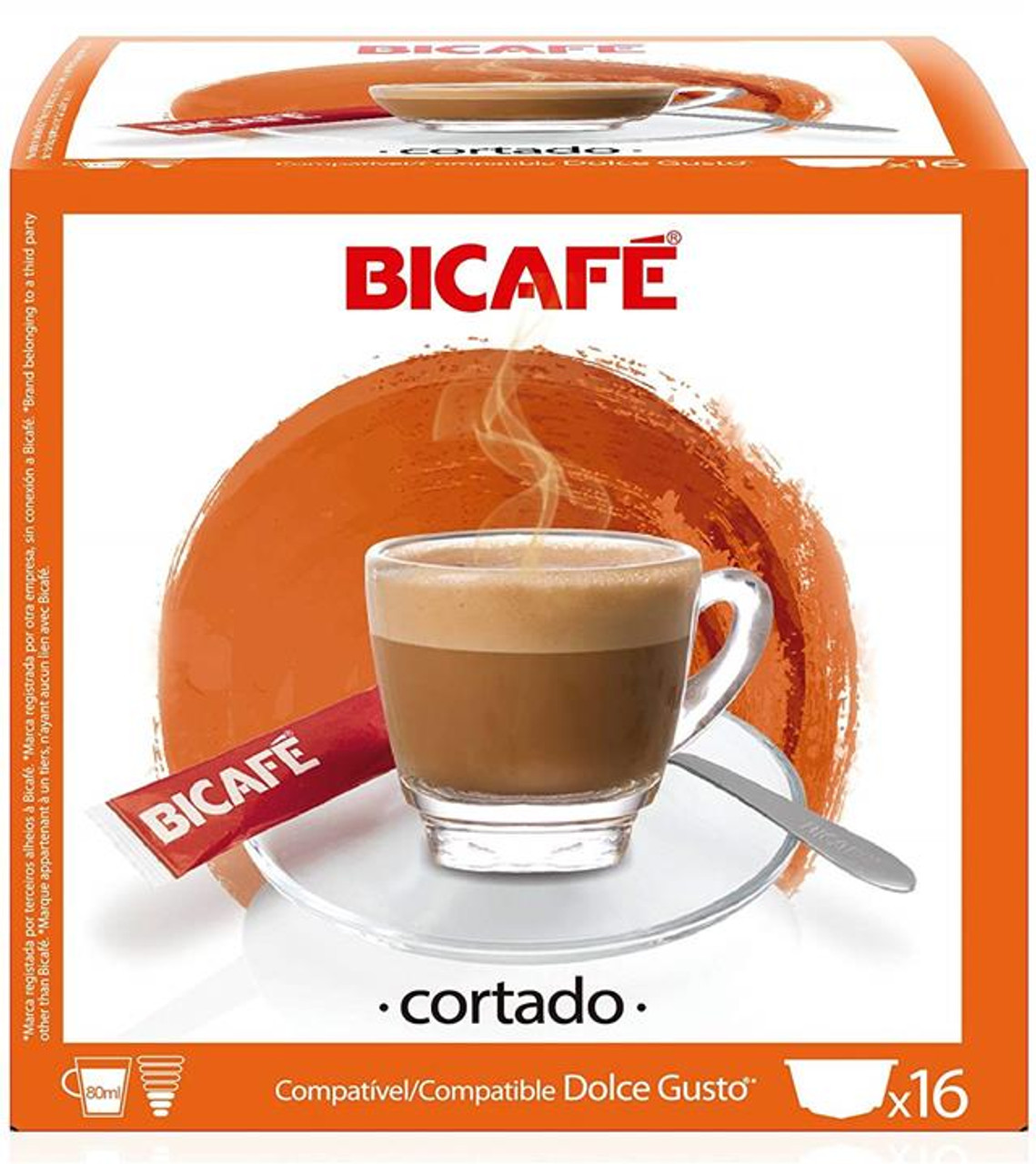 Compatible Coffee Capsules Bicafe Cortado For Dolce Gusto Pods 16 Capsule Packs