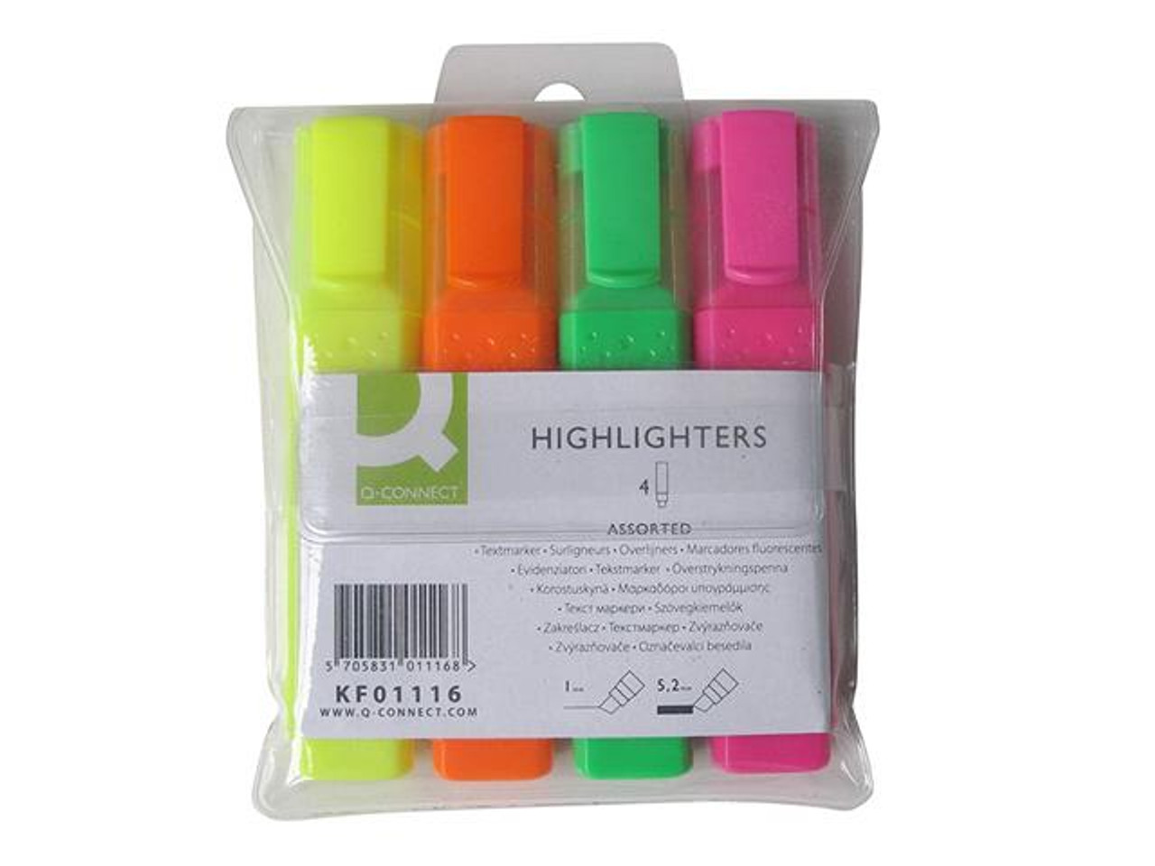 Pack of 4 Highlighter Marker Pens Q-Connect Assorted Colour KF01116