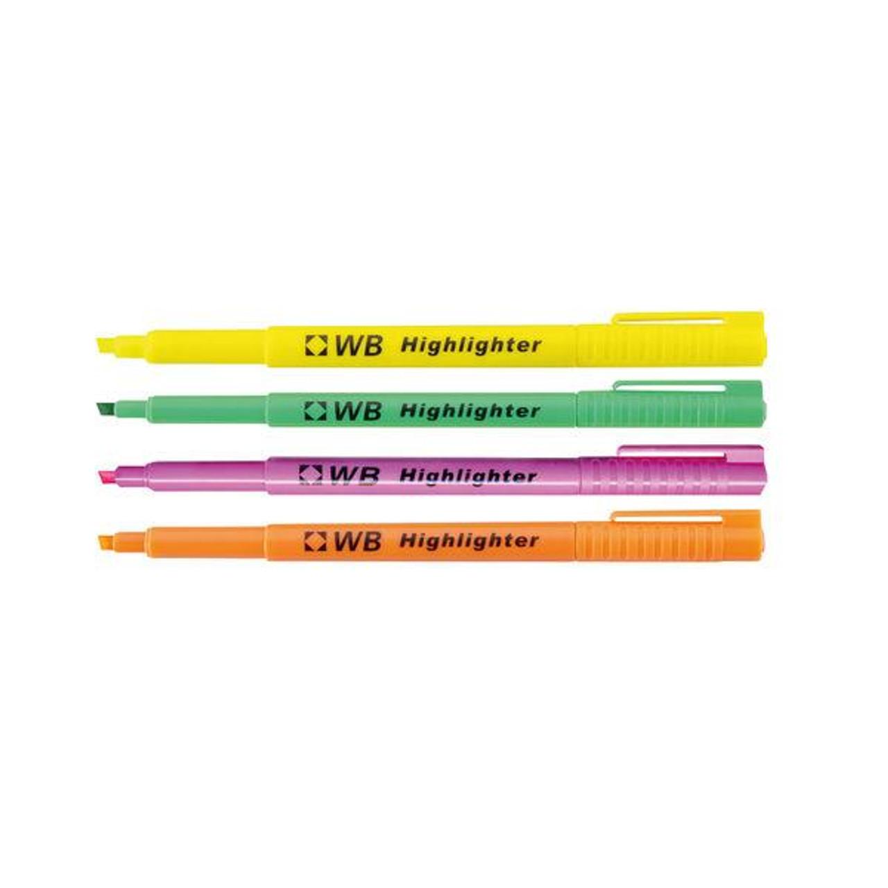 Pack of 4 Highlighter Marker Slimline Barrel Assorted Colour WX93206