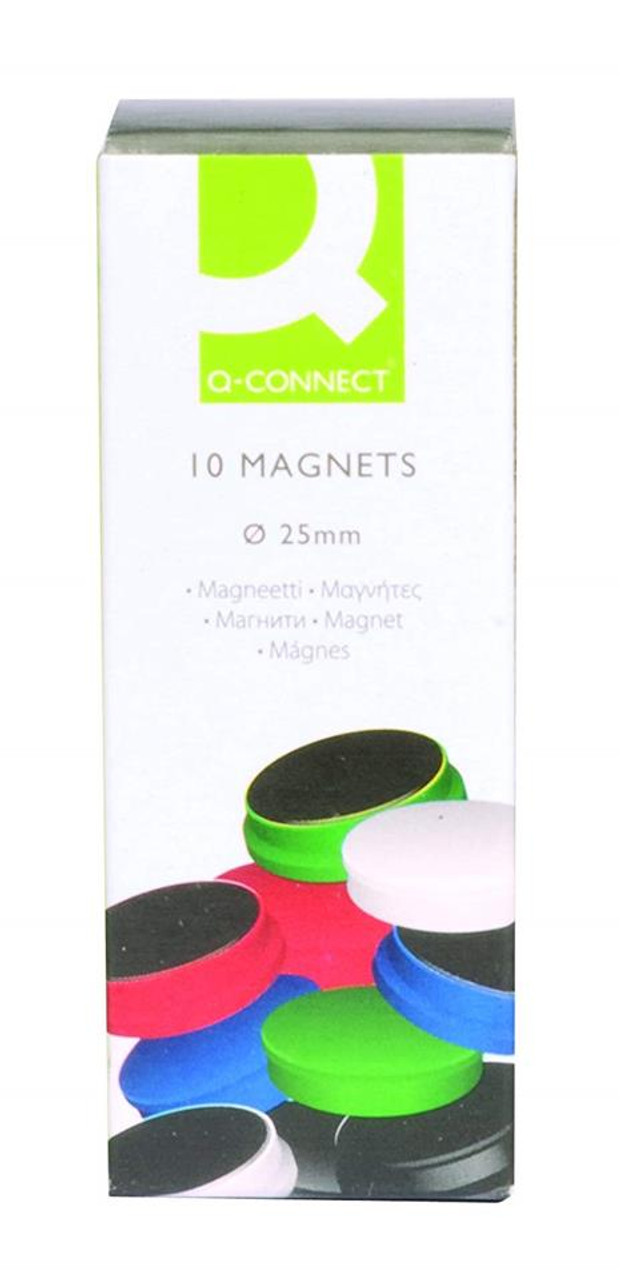 Pack of 10 Q Connect Quality Assorted 25mm Magnet Magnets - KF02643