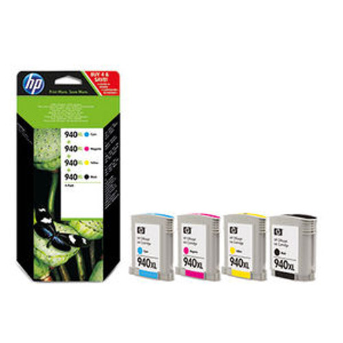 4 Colour High Capacity Hp 940xl Original Ink Cartridge Multipack (Hp C4906ae C4907ae C4908ae C4909ae) C2n93ae