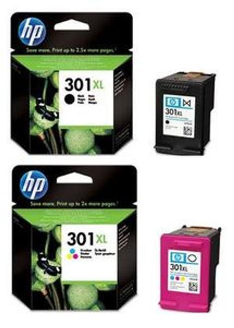 High Capacity Hp 301xl Black & Hp 301xl Tri-colour Original Ink Cartridge Multipack (Hp Ch563ee & Ch564ee)