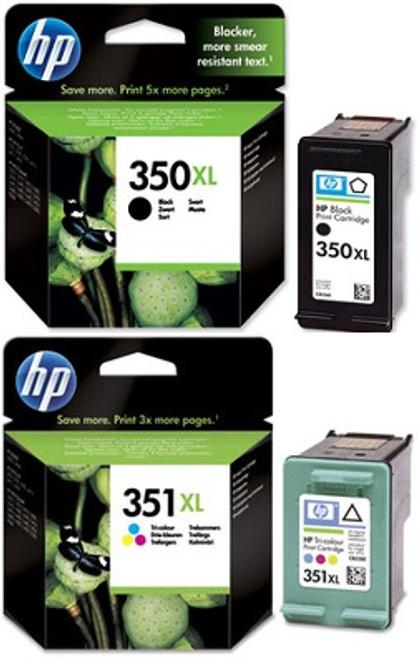 High Capacity Hp 350xl Black & Hp 351xl Tri-colour Original Ink Cartridge Multipack (Hp Cb336ee & Cb338ee)