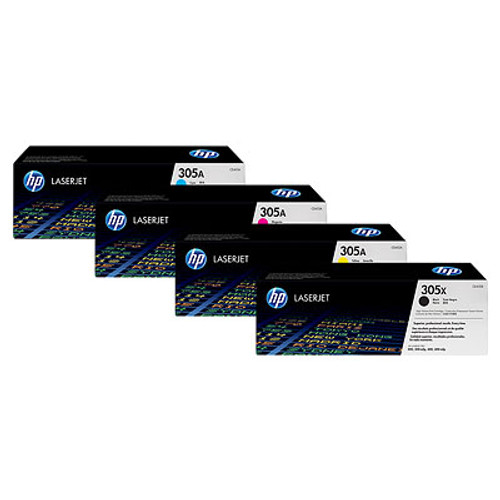 4 Colour Hp 305x / 305a Original Toner Cartridge Multipack (Hp Ce410x Ce411a Ce412a Ce413a)