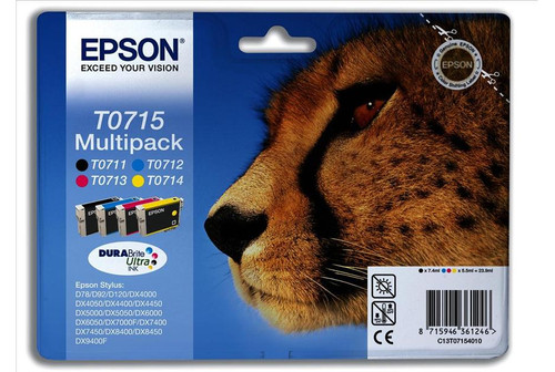 4 Colour Epson T0715 Original Ink Cartridge Multipack (T0711 T0712 T0713 T0714 C13t07154010)