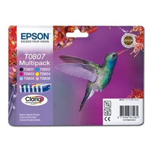 6 Colour Epson T0807 Original Ink Cartridge Multipack (T0801 T0802 T0803 T0804 T0805 T0806 C13t08074010)