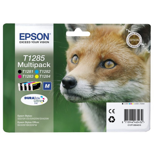 4 Colour Epson T1285 Original Ink Cartridge Multipack (T1281 T1282 T1283 T1284 C13t12854010)