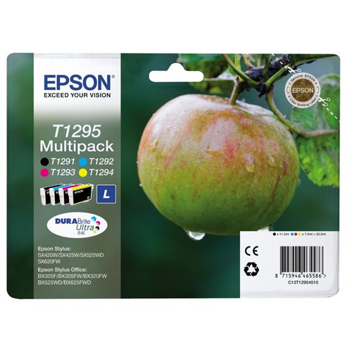 4 Colour High Capacity Epson T1295 Original Ink Cartridge Multipack ( T1291 T1292 T1293 T1294 C13t12954010)