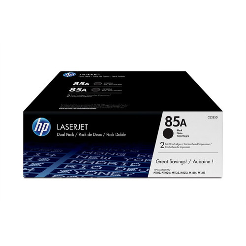 2 X Hp 85a Original Black Toner Cartridge Twin Pack (Hp Ce285ad)