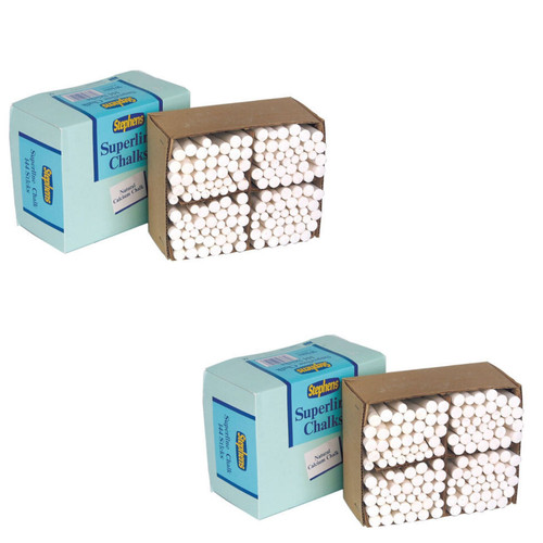 2 x Pack of 144 Stephens Tapered White Chalk Stick for School Blackboard RS522553