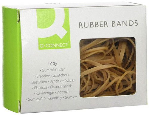 Q Connect Assorted Rubber Bands 100 g High Latex Content KF10673