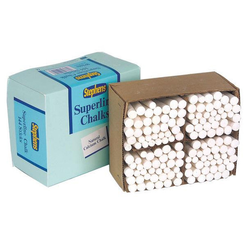 Pack of 144 Stephens Tapered White Chalk Stick for School Blackboard RS522553
