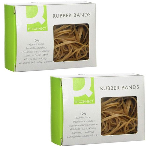 2 x Q Connect Assorted Rubber Bands 100 g High Latex Content KF10673