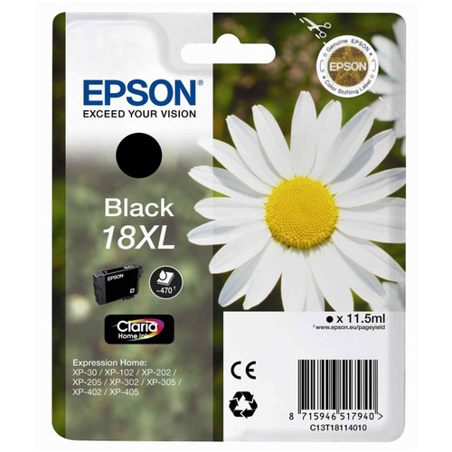 High Capacity Epson 18xl Original Black Ink Cartridge (C13t18114010)
