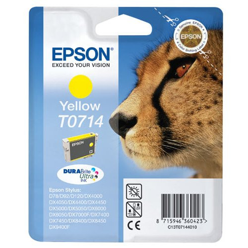 Epson T0714 Original  Yellow Ink Cartridge (C13t07144010 Cheetah)