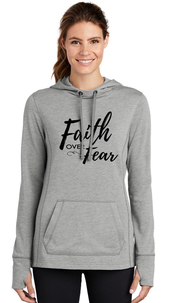 """Faith over Fear"" - LST296 Sport-Tek ® Ladies Tri-Blend Wicking Fleece Hooded Pullover"