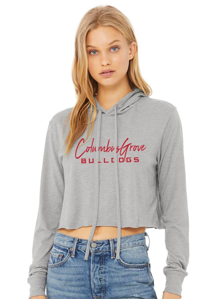 8512 - Columbus Grove Bella + Canvas Ladies' Cropped Long Sleeve Hoodie T-Shirt
