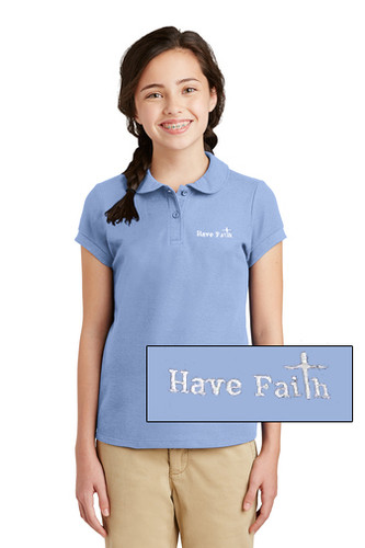 """Have Faith"" Port Authority Girls Silk Touch Polo - YG503"