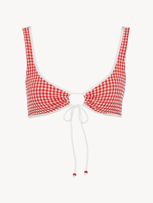 Bikini top in red gingham seersucker
