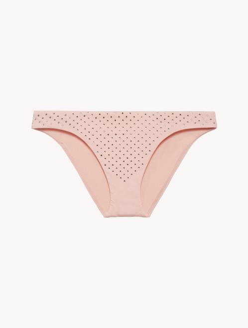 Low-rise Bikini Briefs in rose pink with diamanté detail