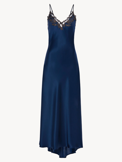 Blue long nightgown with frastaglio