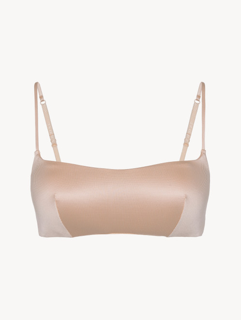 Bralette in beige stretch viscose and tulle