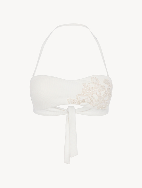 Bandeau Bikini Top in off-white with ivory embroidery