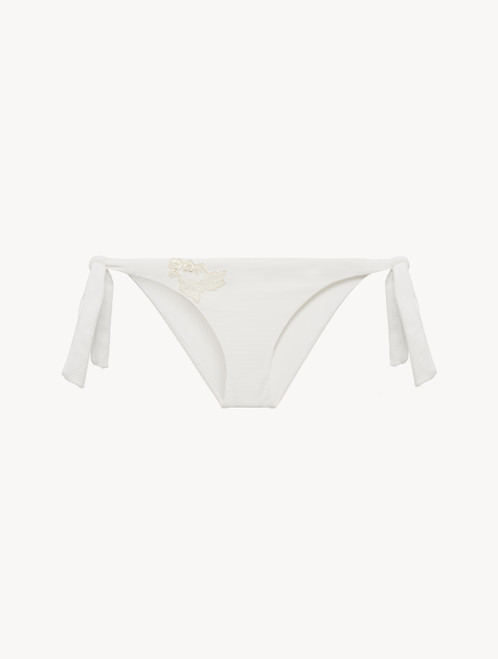 Ribbon Bikini Briefs in off-white with ivory embroidery