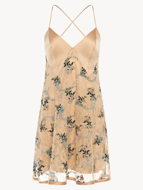 Slip Dress in sand Leavers lace