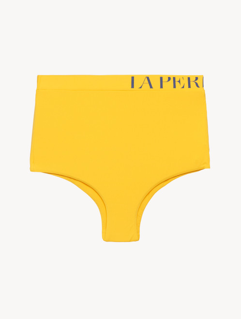 High-waisted bikini brief in yellow with logo