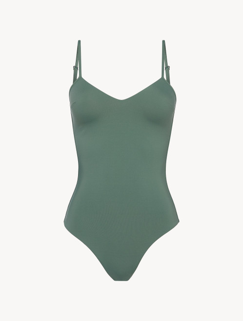 Padded swimsuit in khaki green with logo