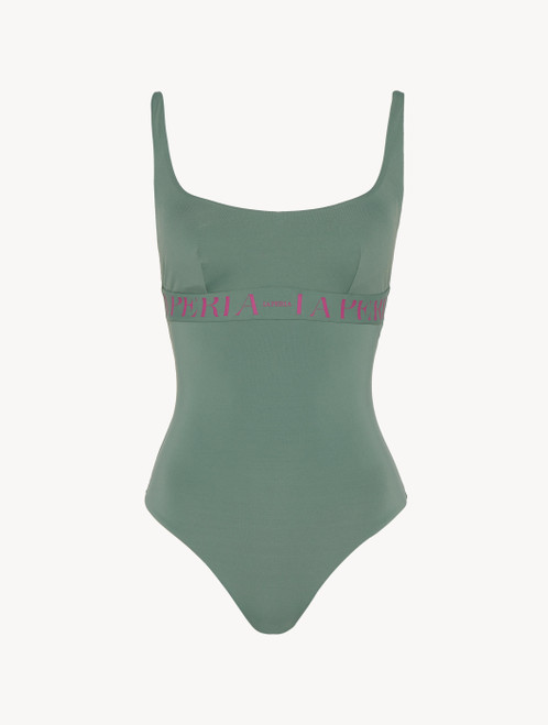 Swimsuit in khaki green with logo