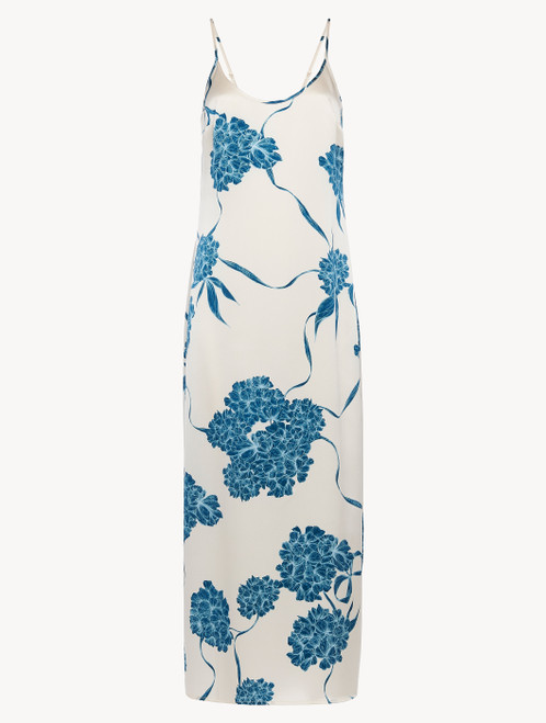 Silk long slip with dusty blue florals